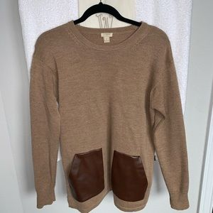 JCrew sweater with leather pockets